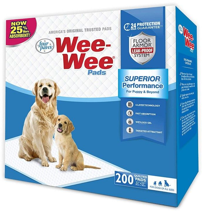 "Four Paws Wee Wee Pads Original 200 Pack - Box (22"" Long x 23"" Wide) - All Pets Store"