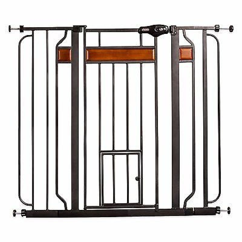 "Carlson Design Paw Extra Tall Expandable Pet Gate with Door 34""-44"" Wide x 38"" High - All Pets Store"