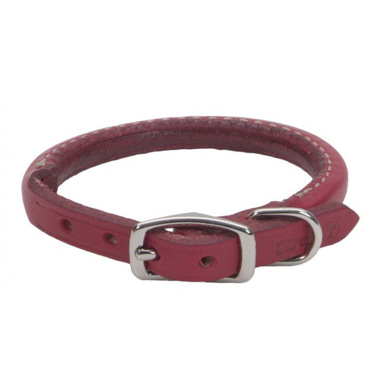 "Circle T Oak Tanned Leather Round Dog Collar - Red 14"" Neck"
