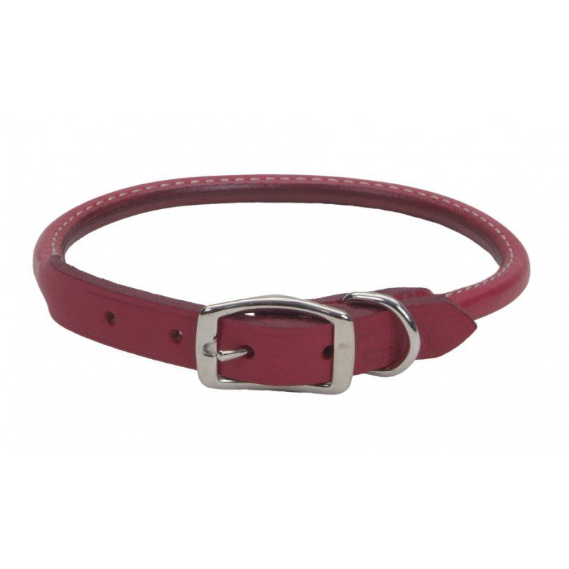 "Circle T Oak Tanned Leather Round Dog Collar - Red 16"" Neck"