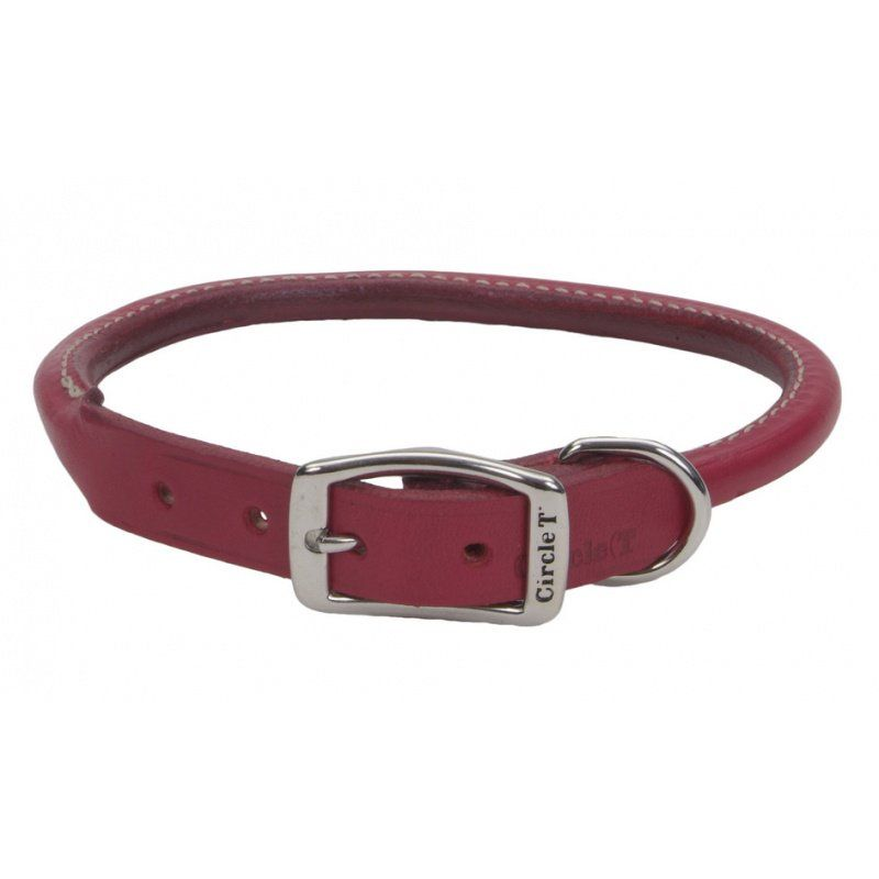 "Circle T Oak Tanned Leather Round Dog Collar - Red 18"" Neck - All Pets Store"