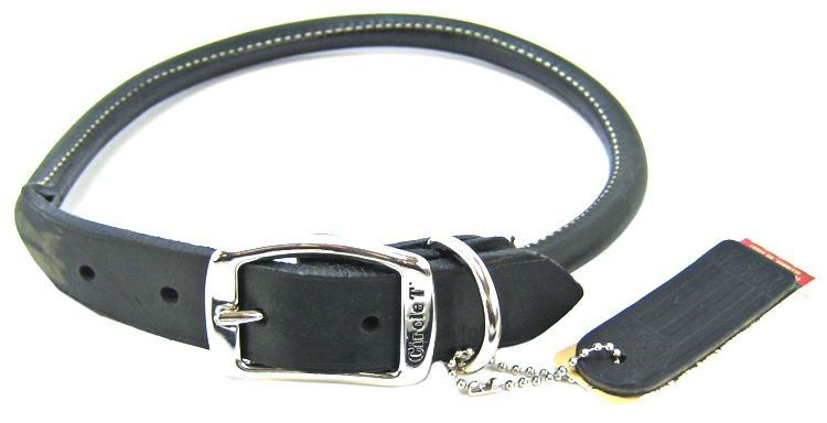 "Circle T Pet Leather Round Collar - Black 22"" Neck - All Pets Store"