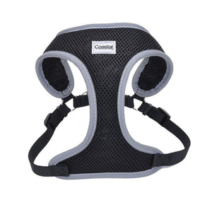 "Coastal Pet Comfort Soft Reflective Wrap Adjustable Dog Harness - Black X-Small - 16-19"" Girth - (5/8"" Straps) - All Pets Store"