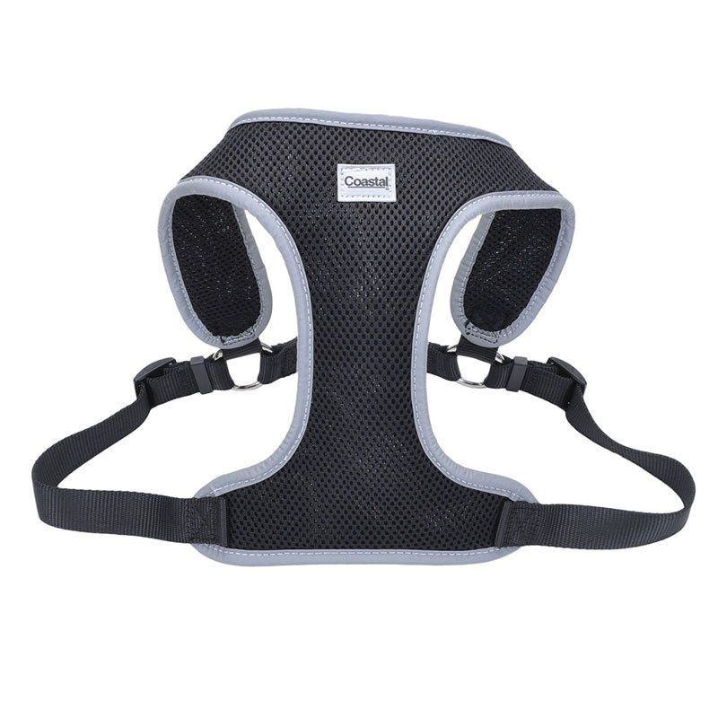 "Coastal Pet Comfort Soft Reflective Wrap Adjustable Dog Harness - Black Medium - 22-28"" Girth - (3/4"" Straps) - All Pets Store"