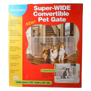 "Carlson Super Wide Convertible Pet Gate 120"" Wide x 28"" High - All Pets Store"