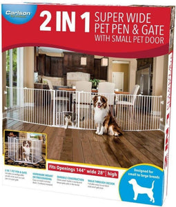 "Carlson 2 in 1 Pet Pen & Super Gate 144"" Wide x 28"" High - All Pets Store"