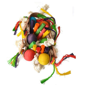 "Living World Junglewood Rope & Tambourine Bird Toy Large - 14.5"" High - (Assorted Colors) - All Pets Store"