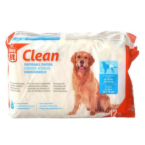"Dog It Clean Disposable Diapers X-Large - 12 Pack - 55-90 lb Dogs - (20-26"" Waist) - All Pets Store"