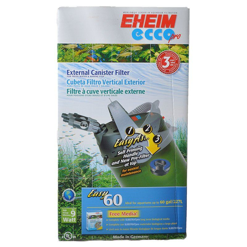 "Eheim Ecco Pro Easy External Canister Filter 158 GPH - Tanks up to 60 Gallons - (8""W x 13.9""H) - All Pets Store"