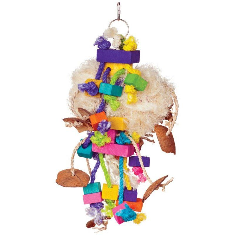 "Prevue Bodacious Bites Tough Puff Bird Toy 1 Pack - (7""W x 17""H) - All Pets Store"