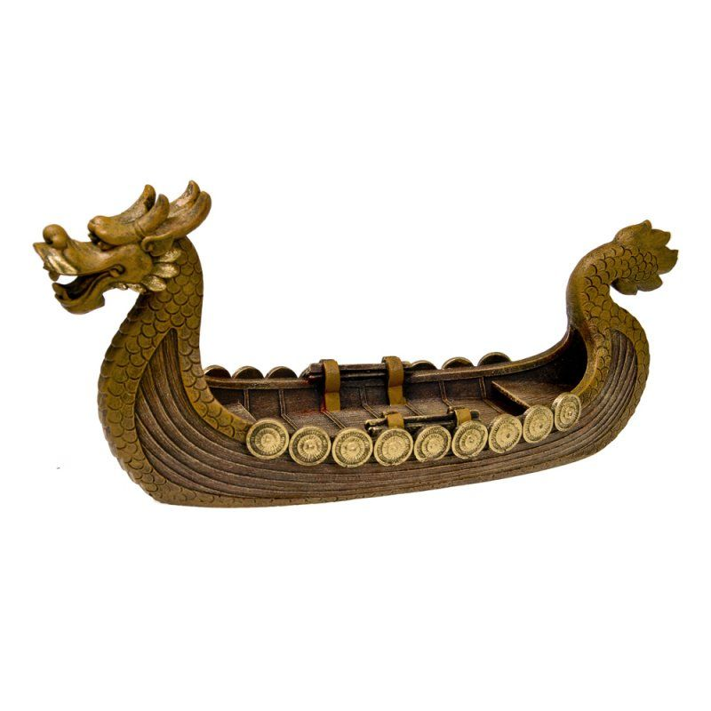 "Exotic Environments Dragon Boat Aquarium Ornament - Gold 15""L x 4.75""W x 7.25""H - All Pets Store"