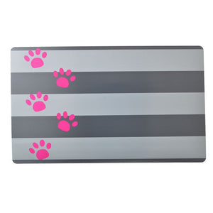 "Petmate Plastic Food Mat - Gray Stripe & Pink Paw 19"" Long x 11.5"" Wide - All Pets Store"