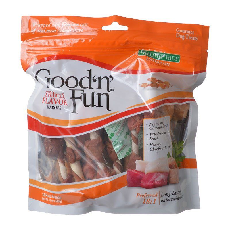 Healthy Hide Good 'n' Fun Triple-Flavor Kabobs - Chicken Breast, Duck & Chicken Liver 18 Pack - All Pets Store
