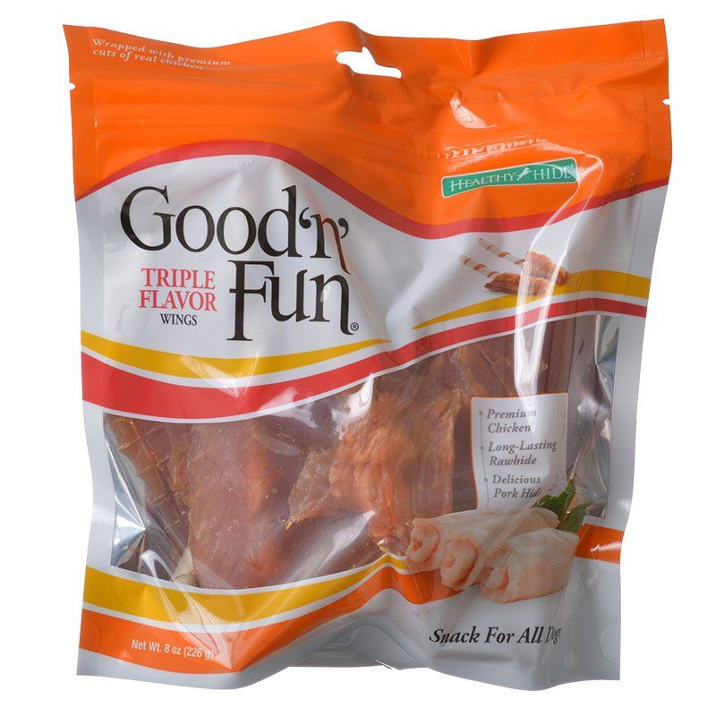 Healthy Hide Good 'n' Fun Triple-Flavor Wings - Chicken, Rawhide & Pork Hide 8 oz - All Pets Store