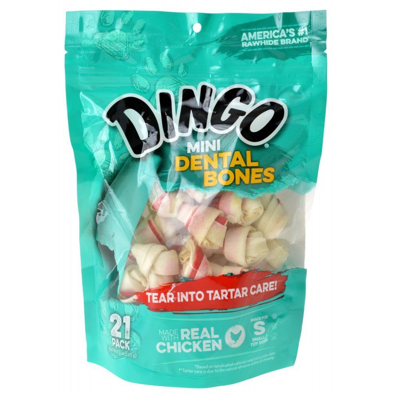 Dingo Dental Bones with Real Chicken (No China Sourced Ingredients) Mini - 21 Pack - (2.5