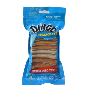 Dingo Delights 100% Rawhide Free Dog Treats with Real Chicken 9 Pack - All Pets Store