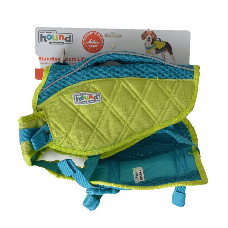 "Outward Hound Standley Sport Life Jacket for Dogs - Green/Blue Small - 15-30 lbs - (16""-20"" Girth)"