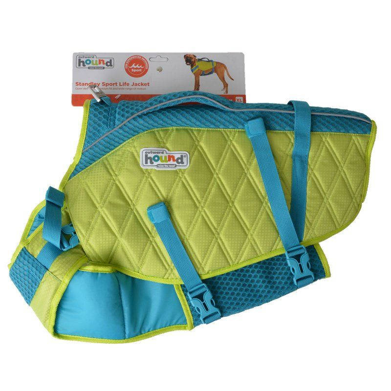 "Outward Hound Standley Sport Life Jacket for Dogs - Green/Blue X-Large - 85-100 lbs - (33""-44"" Girth)"