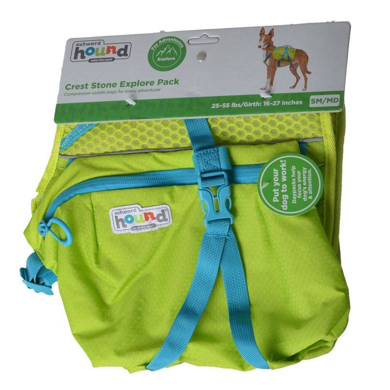 "Outward Hound Crest Stone Explore Pack for Dogs - Green Small/Medium - 25-55 lbs - (16""-27"" Girth)"