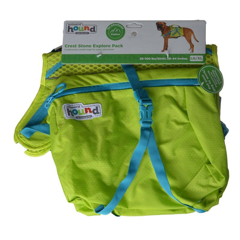 "Outward Hound Crest Stone Explore Pack for Dogs - Green Large/X-Large - 55-100 lbs - (28""-44"" Girth)"