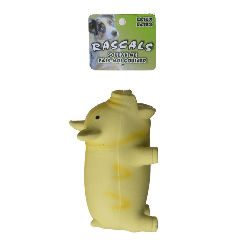 "Rascals Latex Grunting Pig Dog Toy - Yellow 6.25"" Long - All Pets Store"