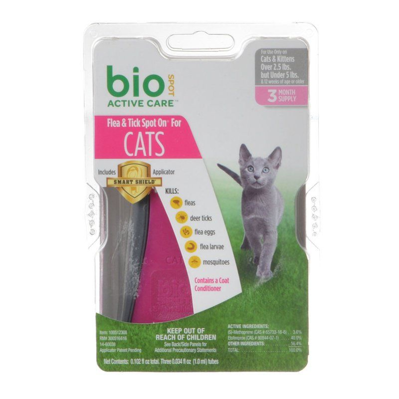 Bio Spot Active Care Flea & Tick Spot On for Cats Cats 2.5-5 lbs - 3 Month Supply - All Pets Store