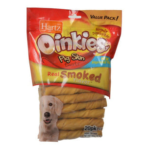 "Hartz Oinkies Pig Skin Twists - Real Smoked Flavor Regular - 5"" Long - 20 Pack - All Pets Store"