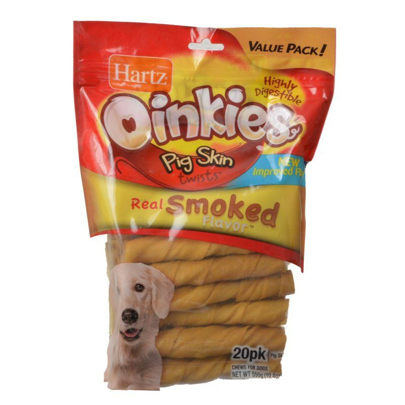Hartz Oinkies Pig Skin Twists - Real Smoked Flavor Regular - 5