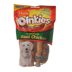 "Hartz Oinkies Pig Skin Twists Wrapped with Real Chicken Regular - 5"" Long - 8 Pack - All Pets Store"