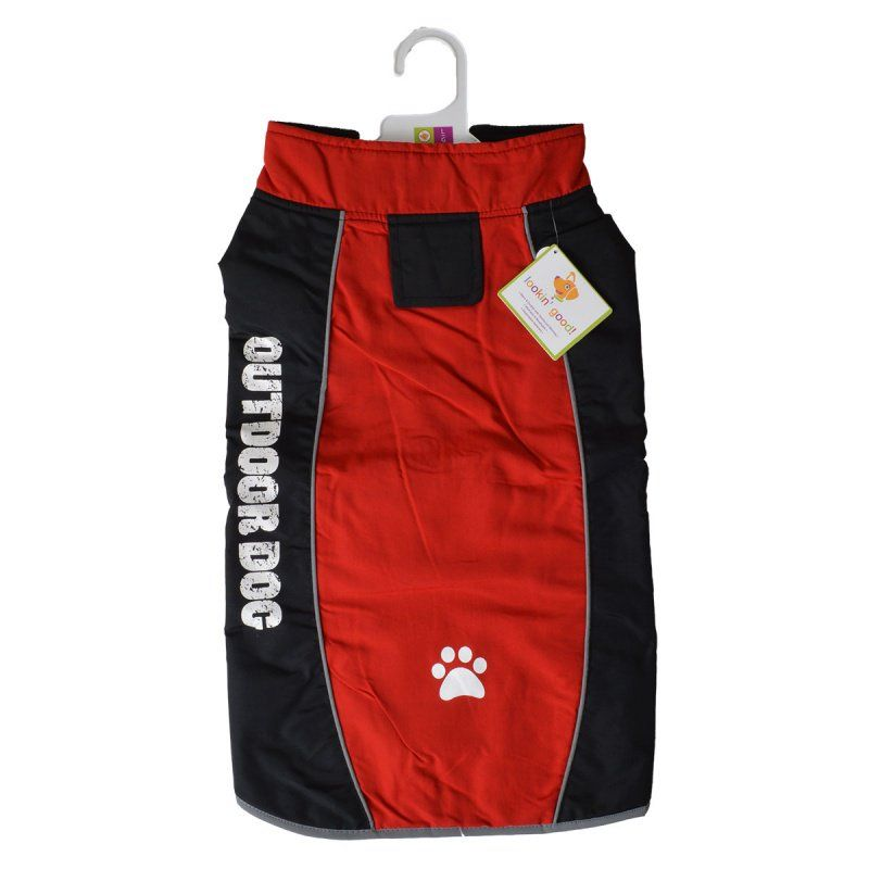 "Fashion Pet Outdoor Dog All Weather Jacket - Red Large - (Fits 19""-24"" Neck to Tail)"