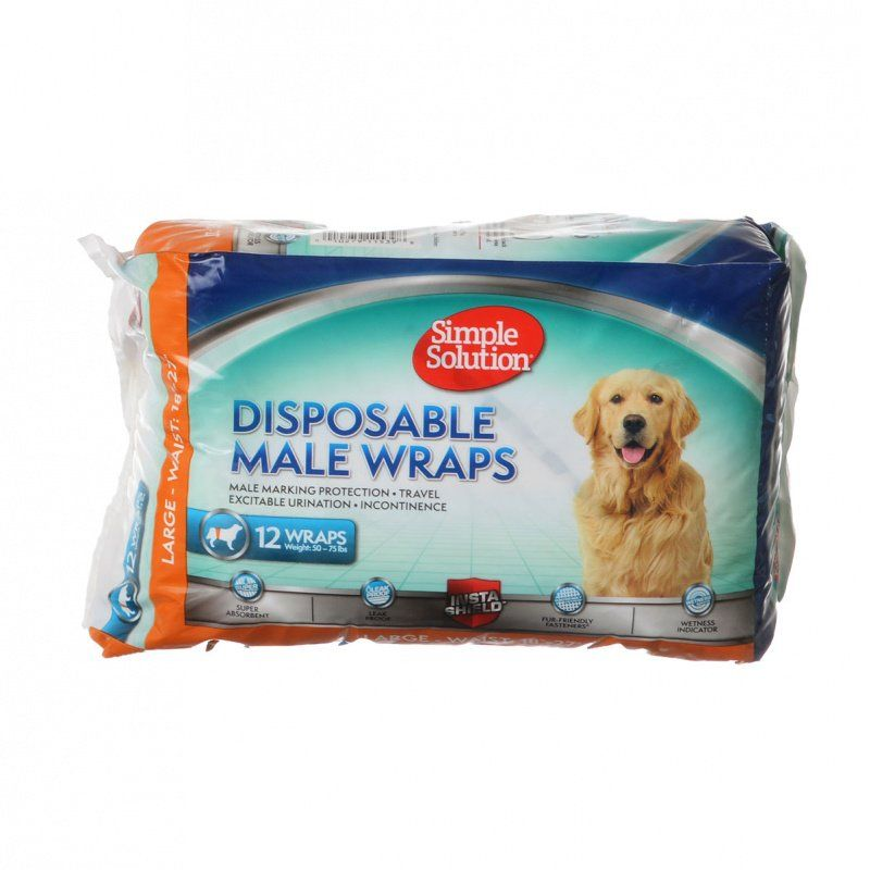 Simple Solution Disposable Male Wraps - Large 12 Count - All Pets Store