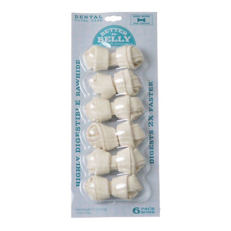 Better Belly Rawhide Dental Bones - Mini 6 Count - All Pets Store