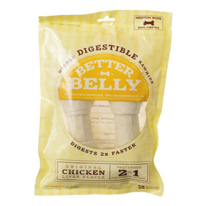 Better Belly Rawhide Chicken Liver Bones - Medium 2 Count - All Pets Store