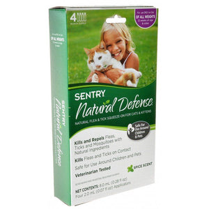 Sentry Natural Defense Flea & Tick Squeeze-On for Cats & Kittens 4 Count - All Pets Store