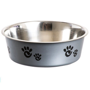 "Spot Barcelona Stainless Steel Feeding Bowl for Dogs - Silver 16 oz - (5.5""L x 5.5""W x 2""H) - All Pets Store"