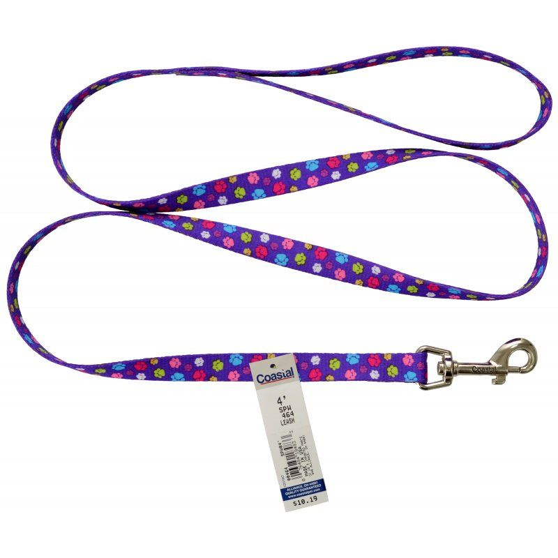 "Pet Attire Styles Nylon Dog Leash - Special Paw 4' Long x 5/8"" Wide - All Pets Store"