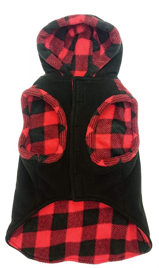 "Outdoor Dog Toggle Plaid Trim Dog Coat - Black Small (10""-14"" Neck to Tail)"