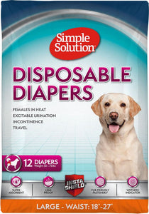 "Simple Solution Disposable Diapers Large - 12 Count - (Waist 18""-22.5"") - All Pets Store"