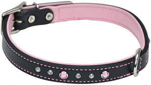 CircleT Fashion Leather Jewel Collar Pink 18?L x 3/4?W - All Pets Store
