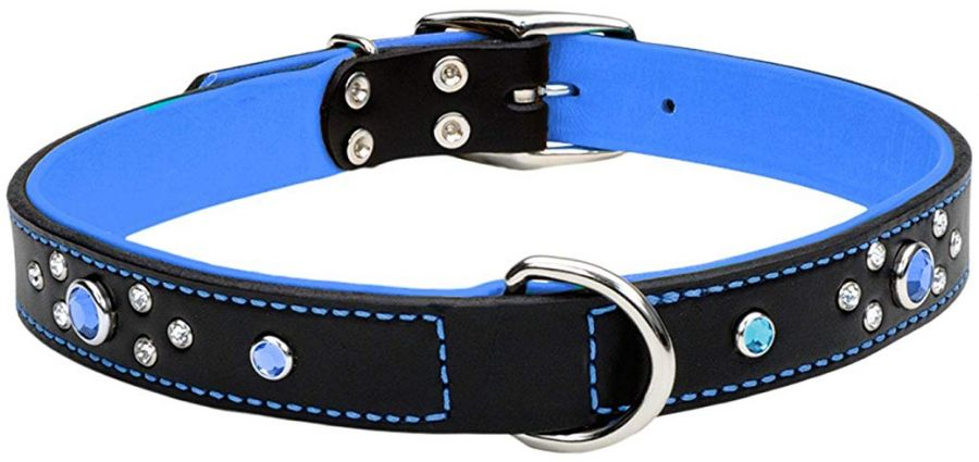 CircleT Fashion Leather Jewel Collar Blue 22