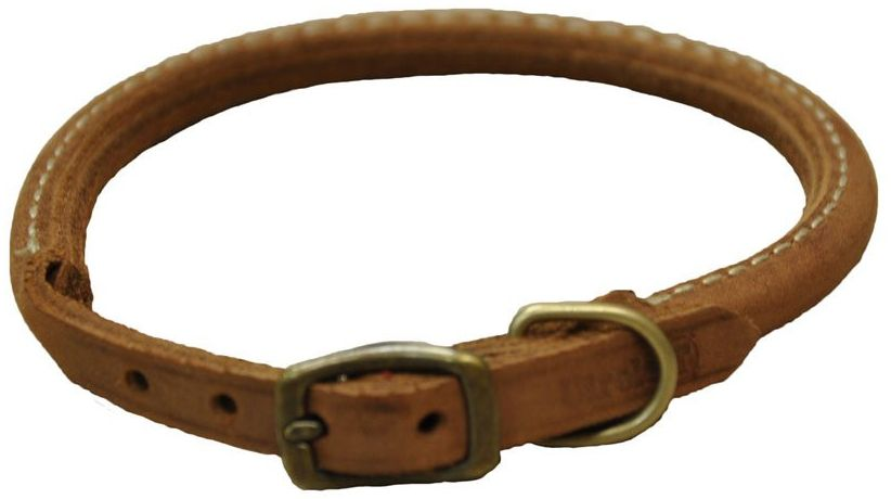 "CircleT Rustic Leather Dog Collar Chocolate 18""L x 3/4""W - All Pets Store"