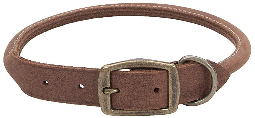 CircleT Rustic Leather Dog Collar Chocolate 22