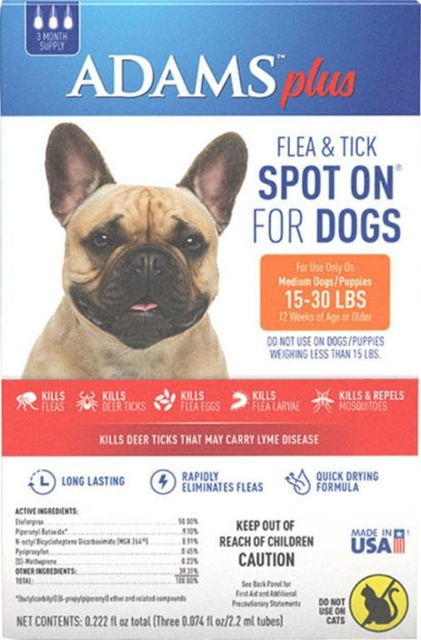 Adams Plus Flea and Tick Spot On for Medium Dogs 15-30 lbs 1 count