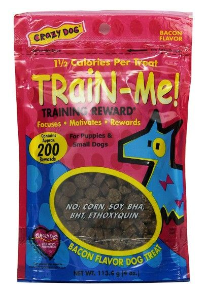 Crazy Dog Train Me! Bacon Training Reward Treats - Mini 4 oz - All Pets Store