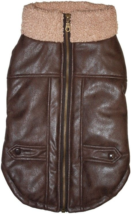Fashion Pet Brown Bomber Dog Jacket Large