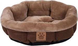 "Precision Pet Round Shearling Bed Brown 17""L x 17""W x 4.5""H - All Pets Store"