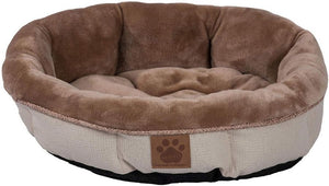"Precision Pet Round Shearling Bed Buff 17""L x 17""W x 4.5""H - All Pets Store"