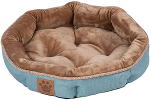 "Precision Pet Round Shearling Bed Teal 17""L x 17""W x 4.5""H - All Pets Store"