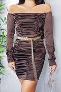 Chocolate Brown Ruched Detail Bodycon Mini Dress | PINGLUDA