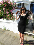 Black Ruched Milkmaid Bodycon Dress | PINGLUDA